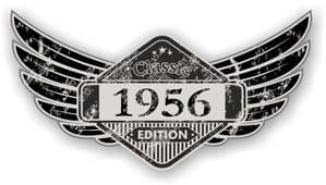 Distressed Winged Vintage Edition 1956 Classic Retro Cafe Racer Design Vinyl Car Sticker 125x65mm