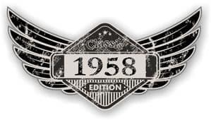 Distressed Winged Vintage Edition 1958 Classic Retro Cafe Racer Design Vinyl Car Sticker 125x65mm