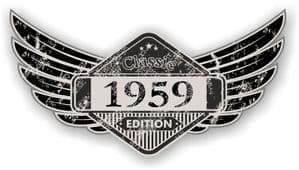 Distressed Winged Vintage Edition 1959 Classic Retro Cafe Racer Design Vinyl Car Sticker 125x65mm