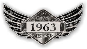 Distressed Winged Vintage Edition 1963 Classic Retro Cafe Racer Design Vinyl Car Sticker 125x65mm