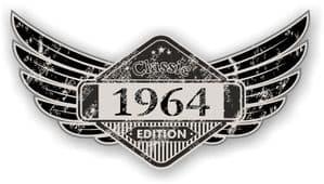 Distressed Winged Vintage Edition 1964 Classic Retro Cafe Racer Design Vinyl Car Sticker 125x65mm