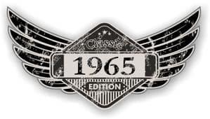 Distressed Winged Vintage Edition 1965 Classic Retro Cafe Racer Design Vinyl Car Sticker 125x65mm