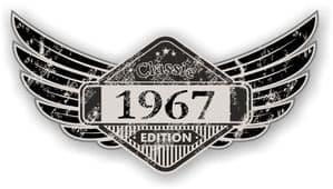 Distressed Winged Vintage Edition 1967 Classic Retro Cafe Racer Design Vinyl Car Sticker 125x65mm