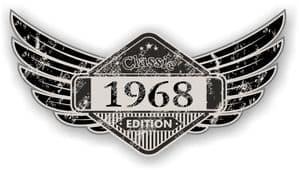 Distressed Winged Vintage Edition 1968 Classic Retro Cafe Racer Design Vinyl Car Sticker 125x65mm