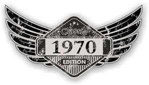 Distressed Winged Vintage Edition 1970 Classic Retro Cafe Racer Design Vinyl Car Sticker 125x65mm