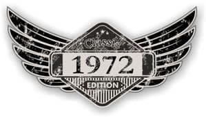 Distressed Winged Vintage Edition 1972 Classic Retro Cafe Racer Design Vinyl Car Sticker 125x65mm