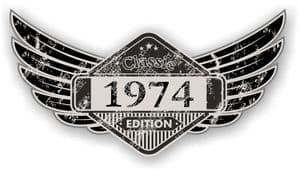 Distressed Winged Vintage Edition 1974 Classic Retro Cafe Racer Design Vinyl Car Sticker 125x65mm