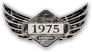 Distressed Winged Vintage Edition 1975 Classic Retro Cafe Racer Design Vinyl Car Sticker 125x65mm