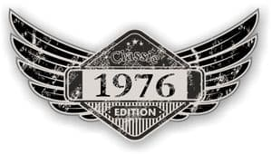 Distressed Winged Vintage Edition 1976 Classic Retro Cafe Racer Design Vinyl Car Sticker 125x65mm