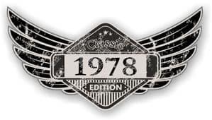 Distressed Winged Vintage Edition 1978 Classic Retro Cafe Racer Design Vinyl Car Sticker 125x65mm