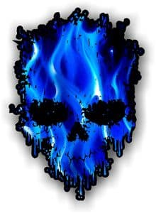 Dripping Skull With Electric Blue Flames external Vinyl Car Sticker 85x120mm
