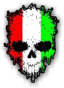Dripping Skull With Italian Flag external Vinyl Car Sticker 85x120mm