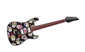 Electric Guitar Design With Mexican Sugar Skull Pattern Motif External Vinyl Car Sticker 150x50mm