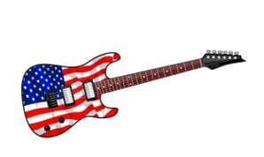 Electric Guitar Design With USA American Flag Motif External Vinyl Car Sticker 150x50mm
