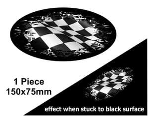Fade To Black OVAL Design & Black & White Chequered Flag Vinyl Car sticker decal 150x75mm