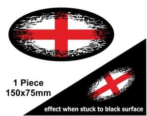 Fade To Black OVAL Design & St Georges Cross England Flag Vinyl Car sticker decal 150x75mm
