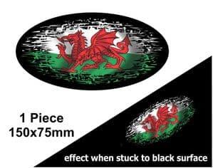 Fade To Black OVAL Design & Welsh Wales CYMRU Flag Vinyl Car sticker decal 150x75mm
