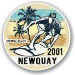 Fistral Beach 2001 Newquay Surfer Surfing Design Vinyl Car sticker decal 100x100mm