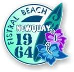 Fistral Beach Newquay 1964 Surfer Surfing Design Vinyl Car sticker decal  95x98mm