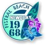 Fistral Beach Newquay 1968 Surfer Surfing Design Vinyl Car sticker decal  95x98mm