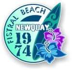 Fistral Beach Newquay 1974 Surfer Surfing Design Vinyl Car sticker decal  95x98mm