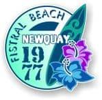 Fistral Beach Newquay 1977 Surfer Surfing Design Vinyl Car sticker decal  95x98mm