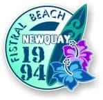 Fistral Beach Newquay 1994 Surfer Surfing Design Vinyl Car sticker decal  95x98mm