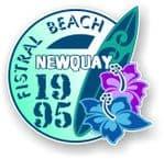Fistral Beach Newquay 1995 Surfer Surfing Design Vinyl Car sticker decal  95x98mm