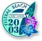 Fistral Beach Newquay 2003 Surfer Surfing Design Vinyl Car sticker decal  95x98mm