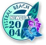 Fistral Beach Newquay 2004 Surfer Surfing Design Vinyl Car sticker decal  95x98mm
