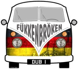 FUKKENBROKEN Funny Slogan For Retro SPLIT SCREEN VW Camper Van Bus Design External Vinyl Car Sticker 90x80mm