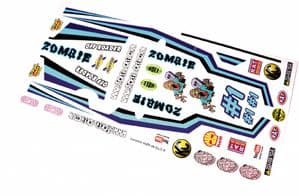Fun Zombie Apocalypse themed vinyl stickers to fit R/C Tamiya Grasshopper
