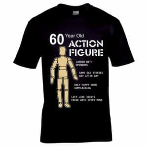 Funny 60 year Old Action Figure Toy Hero Motif Mens Birthday Gift Black T-shirt Top