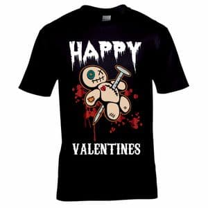 Funny Anti Happy Valentines Day Voodoo Doll Horror Motif Mens Gift Black T-shirt Top