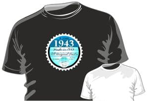 Funny Born in 1943 Tax Disc Motif Birthday Occasion Anniversary gift mens or ladyfit t-shirt