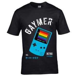 Funny Retro Gaymer LGBT Gamer Gaming Game Gay Boy Motif LGBTQIA Gay Pride Rainbow Flag T-shirt