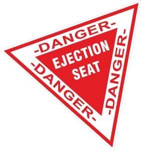 Funny WARNING EJECTION SEAT Triangular Design External Vinyl Car Sticker Decal 115x103mm
