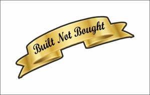 GOLD BUILT NOT BOUGHT Scroll shape Vinyl Car Sticker For Cafe Racer Bobber Hot Rod 100x30mm