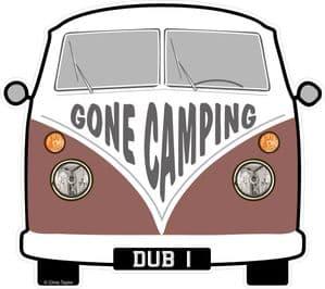 GONE CAMPING Slogan For Retro SPLIT SCREEN VW Camper Van Bus Design External Vinyl Car Sticker 90x80mm