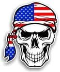 GOTHIC BIKER Pirate SKULL HEAD BANDANA American Stars & Stripes US Flag Vinyl Car Sticker 100x121mm