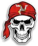 GOTHIC BIKER Pirate SKULL HEAD BANDANA Isle Of Man Mann Manx Flag Vinyl Car Sticker 100x121mm
