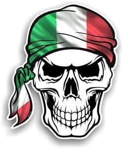 GOTHIC BIKER Pirate SKULL HEAD BANDANA Italy Italian il Tricolore Flag Vinyl Car Sticker 100x121mm
