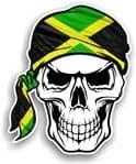 GOTHIC BIKER Pirate SKULL HEAD BANDANA Jamaica Jamaican Country Flag Vinyl Car Sticker 100x121mm