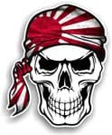 GOTHIC BIKER Pirate SKULL HEAD BANDANA JDM Japanese Rising Sun Flag Vinyl Car Sticker 100x121mm