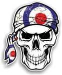GOTHIC BIKER Pirate SKULL HEAD BANDANA  & MOD Style RAF Target Vinyl Car Sticker 100x121mm