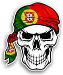 GOTHIC BIKER Pirate SKULL HEAD BANDANA Portugal Portuguese Country Flag Vinyl Car Sticker 100x121mm