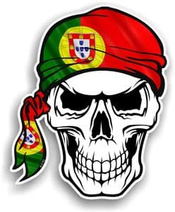 GOTHIC BIKER Pirate SKULL HEAD BANDANA Portugal Portuguese Country Flag Vinyl Car Sticker 100x121mm
