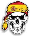 GOTHIC BIKER Pirate SKULL HEAD BANDANA  & Spain Spanish Country Flag Vinyl Car Sticker 100x121mm
