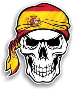 GOTHIC BIKER Pirate SKULL HEAD BANDANA  & Spain Spanish Country Flag Vinyl Car Sticker 100x121mm
