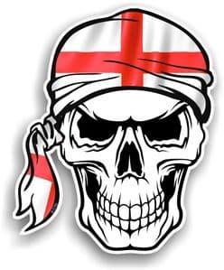 GOTHIC BIKER Pirate SKULL HEAD BANDANA St Georges Cross England Flag Vinyl Car Sticker 100x121mm
